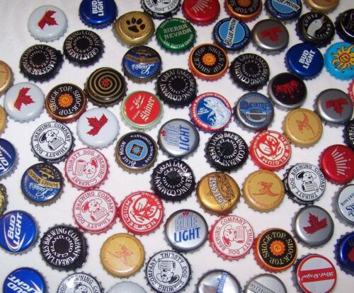 100 Beer Bottle Caps Mixed Lot Recycle Upcycle Craft Projects Collecting
