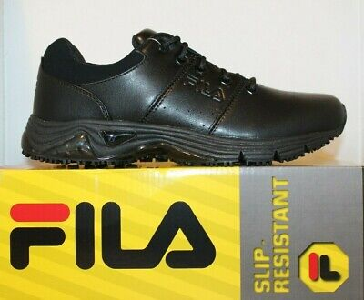 Mens Fila Memory Breach Low Slip Oil Resistant Memory Foam Work Shoes Black -