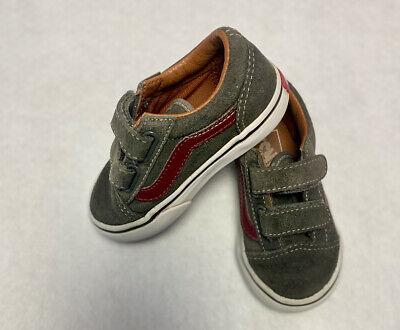 Vans Old Skool Infant/Toddler Boys Olive Green/ Burgundy Shoes Size 6