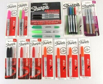 Sharpie Marker Lot Of 23 Fine Tip Metallic Twin Tip Neon Permanent Pen Markers