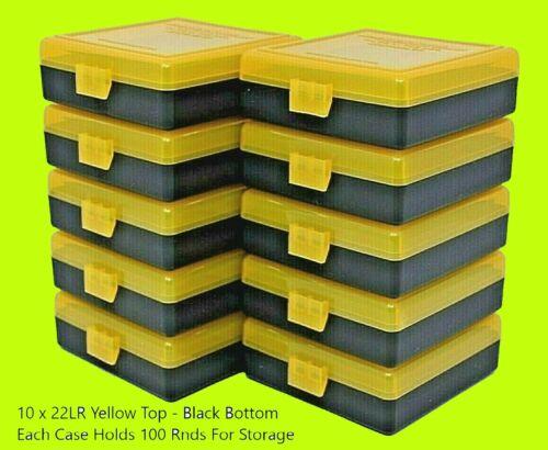 22 lr Ammo Box / Case / Storage (10 PACK) 1000 Rnds of STORAGE YELLOW-BLACK