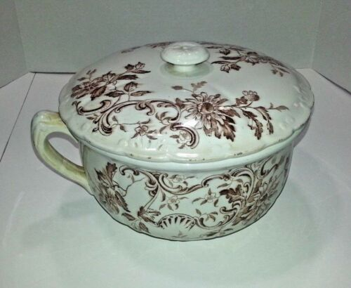 Antique, F. Winkle & Co England Brown/White Floral Chamber Pot w/Lid