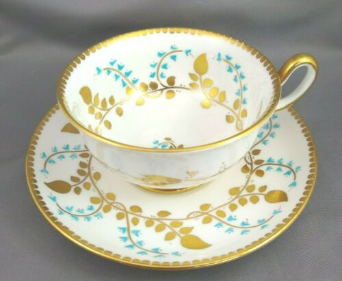 Royal Chelsea Bone China Turquoise & Gold Vine Cup Saucer Set B