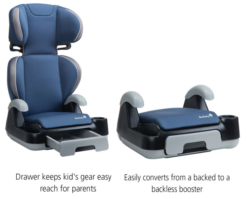 Booster Car Seat Go Sport + Machine Washable Removable Back 2-in-1 Extended