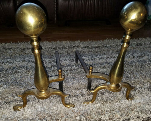 "Vintage 16""  Retro Antique Brass Ball Claw Pair Fire Andirons Andiron Set"