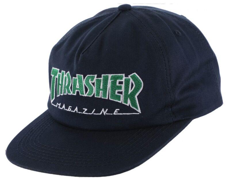 Thrasher Magazine OUTLINED LOGO UNSTRUCTURED Snapback Skateboard Hat NAVY/GREEN