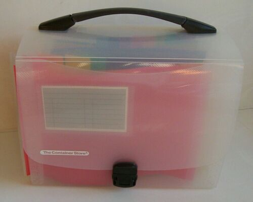 Container Store expanding accordion rainbow file folder handle tote scrapbook
