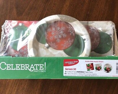 New Holiday Christmas Performa Party Supplies pack Plates And Napkins Serves 50](Christmas Party Plates And Napkins)