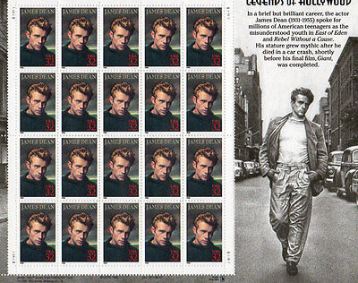 COLLECTIBLE US STAMPS JAMES DEAN LEGENDS OF HOLLYWOOD STAMP SHEET OF 20