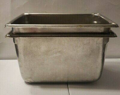 Nsf 4.5 Qt. Lot Of 2stainless Steel Steam Table Hotel Pan - 6 Deep 1684