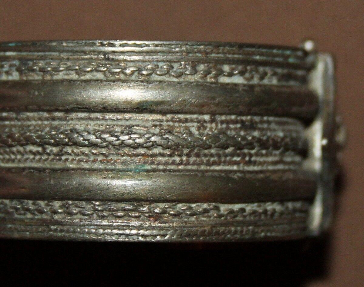 Antique Greek folk ornate silver hinged bracelet