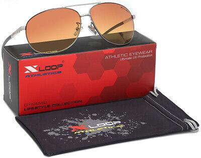 HD+ Vision Amber Lenses Blue Blocker Night Driving Men Retro Aviator Sunglasses