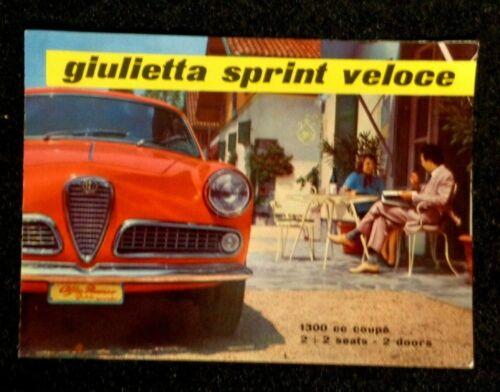 1958 Alfa Romeo GIULIETTA SPRINT VELOCE Auto Car Sales Ad Brochure 1300 cc coupe