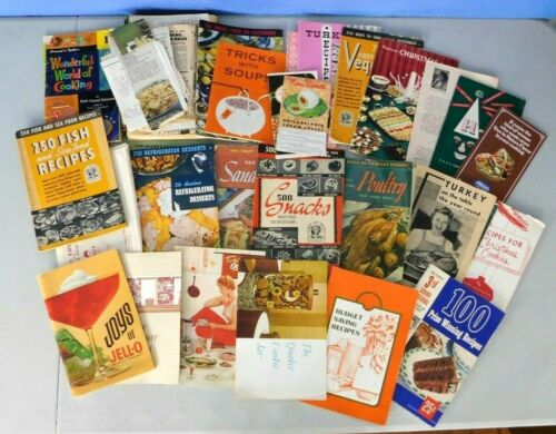 LOT OF VINTAGE PROMOTIONAL COOKBOOKS & NEWSPAPER RECIPES FROM THE 1950