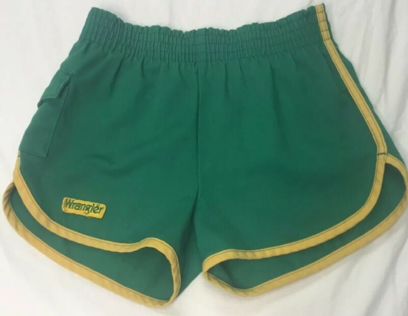 Vintage Wrangler Gym Shorts Size Medium M Green Track Made In USA Sport