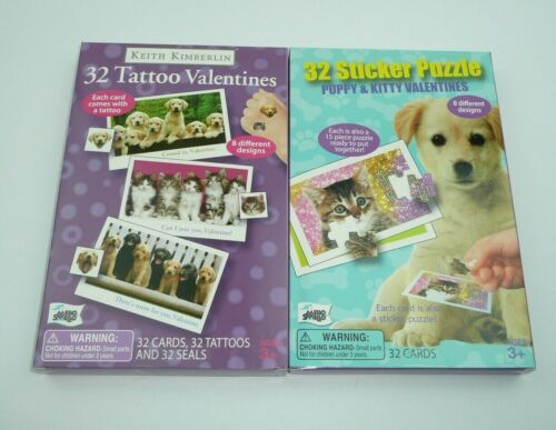 Cats Dogs 64 Valentines Day Cards  Kittens Puppies Classroom Stickers Tattoos