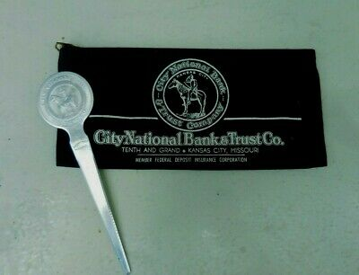 Vintage KCMO City National Bank Pouch & Letter Opener Indian Scout Logo