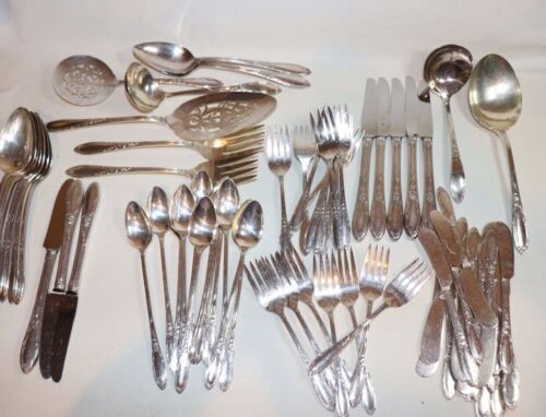 Lot Vtg Heirloom Plate Chateau Dinner Flatware Silverware Incomplete