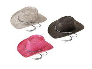 Vaquero-Sombreros-PURPURINA-NEGRO-PLATA-Rosa-Disfraz-ACCESORIO