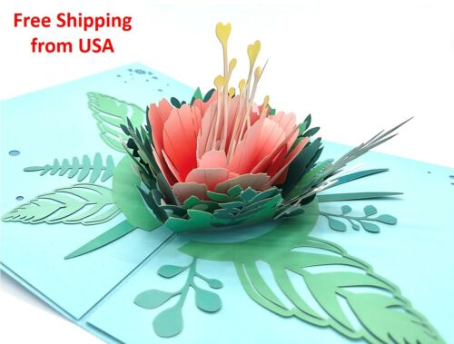 3D Pop Up Flower Peony Greeting Card, Birthday, Father's Day, Anniversary, Love