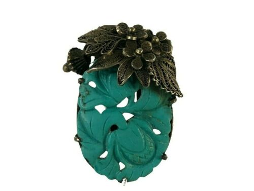 Antique Carved Chinese Turquoise Sterling Silver Filigree Dress Clip 1.25""