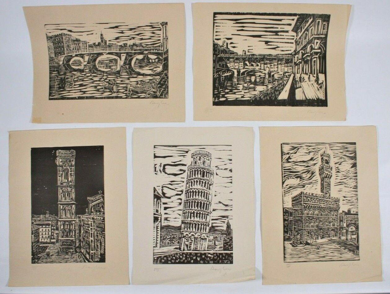 5 x EDUARD BARGHEER 1901- 1979 handsignierte  Holzdrucke Italien Florenz Pisa