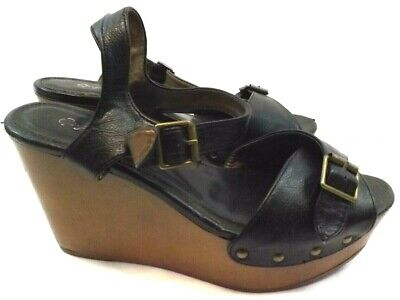 QUPID WEDGE Shoes Platforms Sandals SIZE 9 M  FAUX LEATHER BLACK  for sale  Shipping to Nigeria