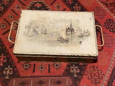 Pretty Victorian Travel Writing/Strong Box. Decorative Lid. Venice.