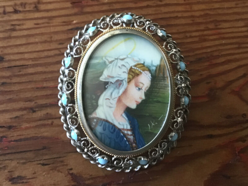 Hand Painted Cameo  Pin Pendant in 800 Silver with 11 Light Blue Stones, Oval