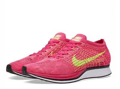 Nike Flyknit Racer Fireberry Volt Pink Flash Uk Size 3.5 526628-607