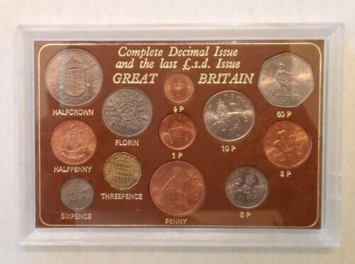 ~Great Britain Complete Decimal Issue And Last L.S.D. Type Coins Set Unc