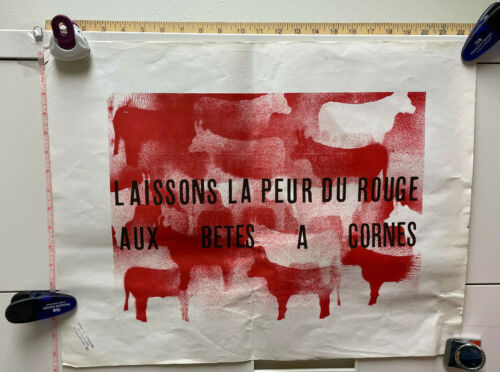 VINTAGE May 1968 French Student Poster: RED SCARE (GREAT MAY CRISIS POSTER)