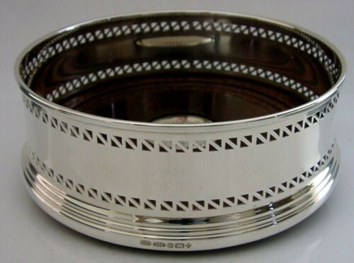 LARGE 5 inch BOXED ENGLISH STERLING SILVER WINE CHAMPAGNE BOTTLE COASTER 2000