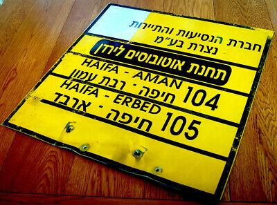 Original BUS STATION TIN SIGN Hebrew HAIFA AMMAN Line ISRAEL JORDAN Transport VR