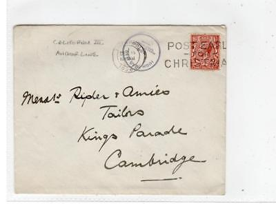 GB: 1928 cover with HIGH SEAS MAIL T.S.S CALIFORNIA cachet (C36390)