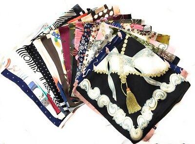 Big Square Ladies Womans Faux Silk Head Neck Thin Scarf Bag Charm - 70cm x (Big Square Head)
