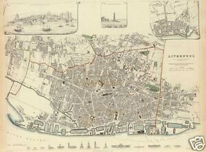 Map of Liverpool 1836, Reprint 10x8 inch