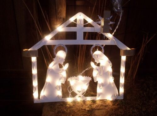 CHRISTMAS OUTDOOR LIGHTED MANGER NATIVITY SET STAR OF BETHLEHEM WINDOW SIGN YARD