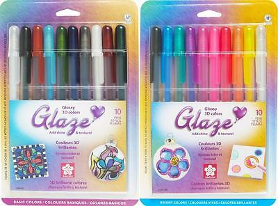 aze Glossy 3D Gel Ink Pens - Basic & Bright Colors - 20 Pens (Sakura Glaze Pens)