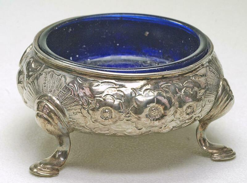 European Antique Sterling & Cobalt Glass large repousee Round footed Salt cellar