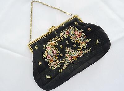 1930s Handbags and Purses Fashion Vintage Purse Bag 1930s Art Deco Flapper Floral Embroidered Marcasite Set Clasp $24.77 AT vintagedancer.com