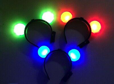 40 Pcs Light-up Mickey Minnie Mouse Headbands Ears Led Bl...