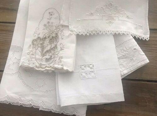 5 Lot Vintage Ecru Linen Guest Hand Fingertip Towels Lace Italian Embroidery