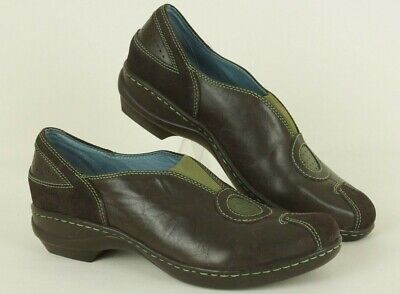 Indigo by Clarks Size 6.5 M Slip-on Low Heel Shoes Loafers Brown / Olive -