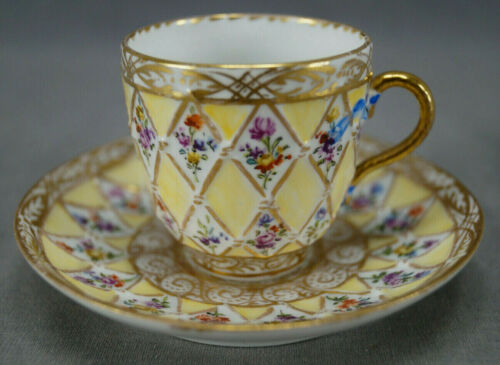 Helena Wolfsohn Dresden Hand Painted Flowers Gold Diamonds Yellow Demitasse Cup