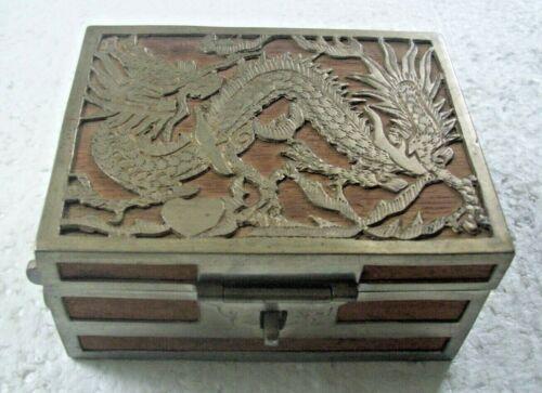 VINTAGE WOOD & DRAGON METAL OVERLAY TRINKET BOX WITH MIRROR INSIDE TOP - ASIAN