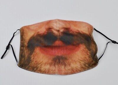 Mundschutz Maske lustiges Spaß Motiv Lächeln Schnauzer großer Mund Bart