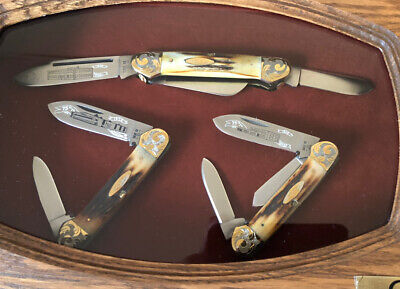 Case Gunboat Canoe Stag Knives 75th Anniversary Set w/display Case NIB/NR