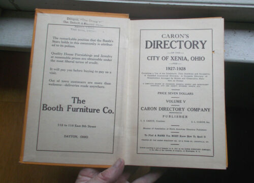 1927 XENIA,OHIO CITY DIRECTORY HARD BOUND 353 PAGE BOOK FULL OF ADVERTISING NICE