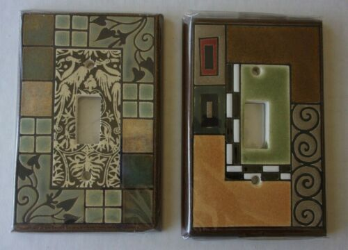 New Lot/2 Ceramic Switchplate Covers-All Fired Up-Canada-Craftsman Geometrics